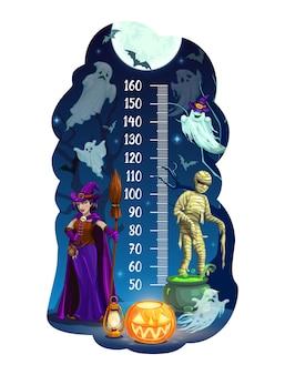 Tabella dell'altezza dei bambini, mostri e fantasmi di halloween
