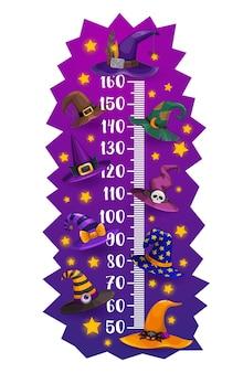 Tabella dell'altezza dei bambini misuratore di crescita dei cappelli da strega e mago di halloween. disegno dell'autoadesivo della parete di vettore del fumetto con i cappucci divertenti del mago. scala di misurazione dell'altezza dei bambini con copricapo da maga o astrologo