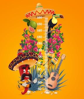 Tabella dell'altezza dei bambini, misuratore di peperoncino messicano