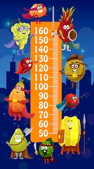 Righello del grafico dell'altezza dei bambini, supereroi della frutta dei cartoni animati. misuratore di crescita