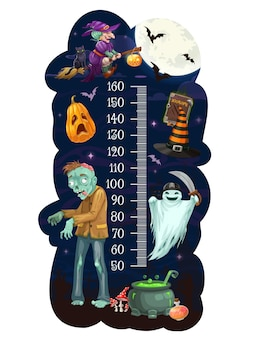 Tabella dell'altezza dei bambini con i mostri di halloween dei cartoni animati