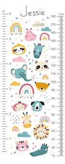 Tabella di altezza per bambini con facce di animali carini e arcobaleni tra le nuvole.
