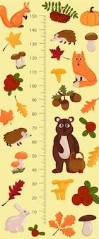 Tabella dell'altezza dei bambini con animali della foresta. parete del misuratore infantile per il design della scuola materna. illustrazione vettoriale, stile cartone animato.