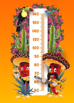 Tabella dell'altezza dei bambini con mariachi messicani