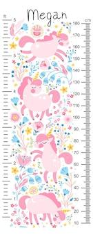 Tabella di altezza per bambini con unicorni in fiori