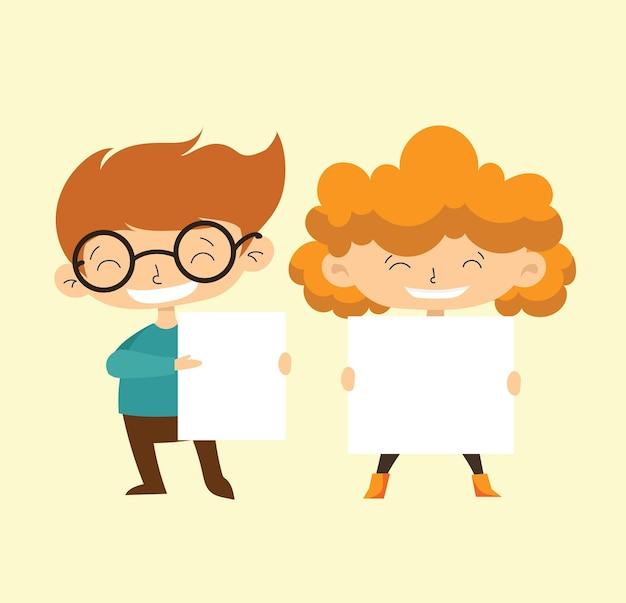 Bambini che tengono striscioni. vector il ragazzo e la ragazza con l'insegna vuota, il bambino della scuola del fumetto dell'illustrazione e bordo per testo nel design piatto