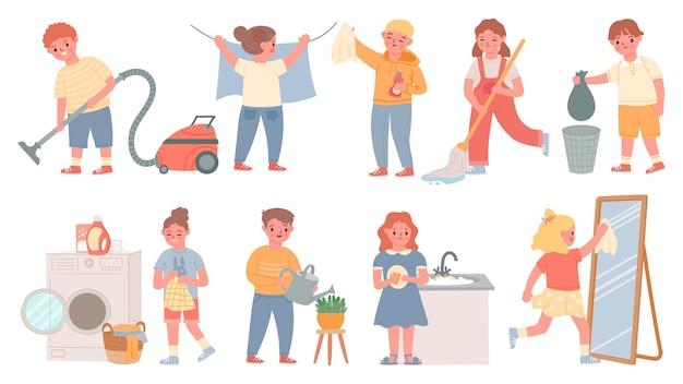 Bambini lavori domestici. i bambini fanno le faccende domestiche, puliscono, lavano i piatti, fanno il bucato, puliscono il pavimento e passano l'aspirapolvere. ragazzi e ragazze puliscono l'insieme di vettore domestico. lavori domestici e pulizie, pulizia dei bambini e illustrazione di lavaggio