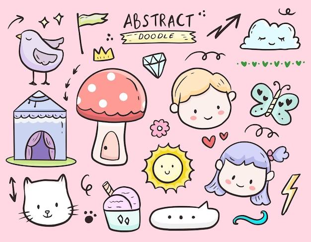 Insieme di set di disegno del fumetto di doodle elemento per bambini