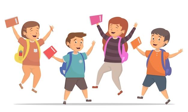 I bambini saltano la felicità torna all'illustrazione del concetto di scuola