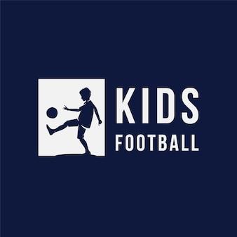 Kids kicking ball logo design template