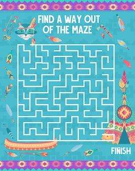 Gioco del labirinto per bambini, animali indiani dei cartoni animati