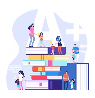 Bambini che imparano il concetto. alunni eccellenti, lodando genitori e insegnanti con libri enormi. illustrazione di vettore di istruzione scolastica dei bambini