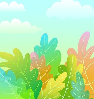 Progettazione artistica del fondo del fumetto della foresta magica dei bambini con le nuvole nel vettore del cielo blu nello stile dell'acquerello