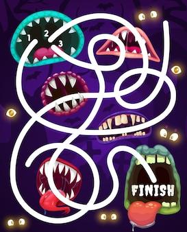 Gioco del labirinto per bambini con bocche di mostri, labirinto