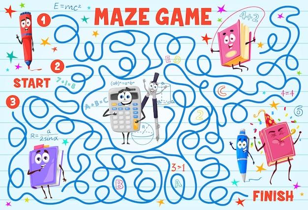 Labirinto per bambini con libro, personaggio dei cartoni animati di cancelleria