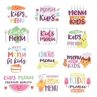 Insieme dell'iscrizione del menu dei bambini