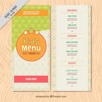 Modello di menu per bambini con disegnati a mano stelle