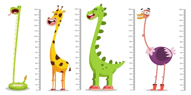 Parete del metro per bambini con una giraffa, un dinosauro, uno struzzo, un serpente e un righello di misurazione. insieme di vettore isolato.