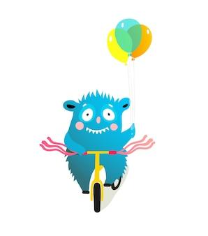 Bambini mostro personaggio in sella a bici, parata di biciclette decorate o clipart del festival. personaggio stravagante creatura ciclista.