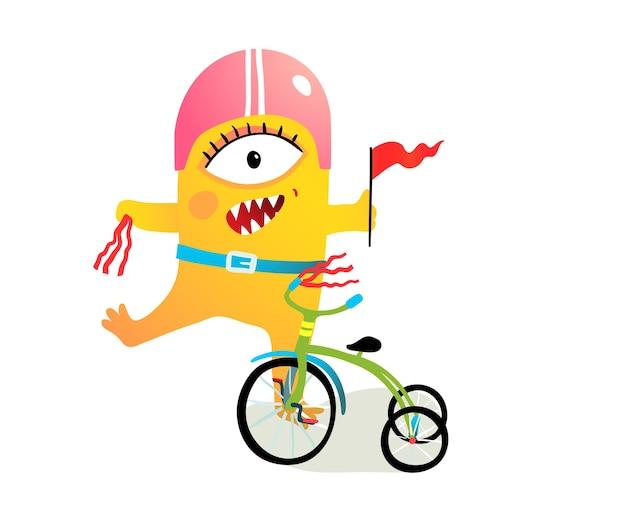 Carattere del mostro dei bambini che indossa il casco e che decora la bici, la parata della bicicletta o il divertente clipart del festival. personaggio stravagante creatura ciclista.