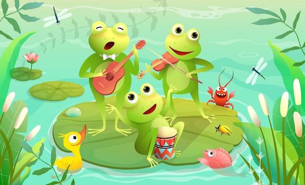Festival musicale per bambini su un lago o uno stagno con rane che suonano strumenti musicali e cantano uno spettacolo musicale