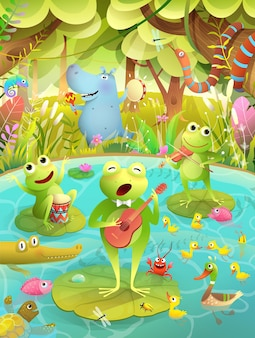 Festival di musica per bambini o festa su un lago o uno stagno con rane che suonano strumenti musicali e cantano