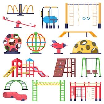 Scalette per bambini all'aperto, giostrina e elementi giochi altalena. bambini parco divertimento collina, scivolo, equilibrio attrezzature illustrazione vettoriale set. elementi del parco giochi scala e giostra, altalena da esterno