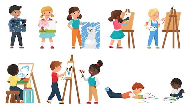 Set di pittura per bambini con giovani artisti dei cartoni animati che disegnano opere d'arte con lo strumento di pittura