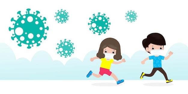 Bambini in preda al panico che scappano dalle particelle di coronavirus che si diffondono sulla strada della città isolata sull'illustrazione bianca del fondo
