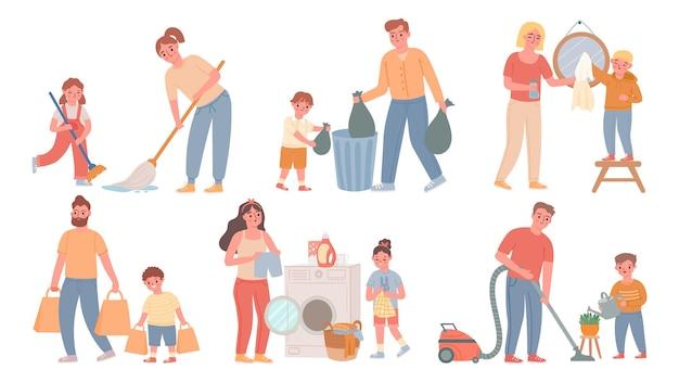 Bambini e genitori che puliscono. i bambini aiutano gli adulti nelle faccende domestiche, spazzano, fanno il bucato, buttano la spazzatura. insieme di vettore di faccende familiari del fumetto. illustrazione pulizia e lavori domestici, lavaggio e casa