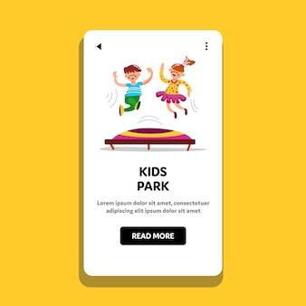 Kids park boy and girl jump om trampoline