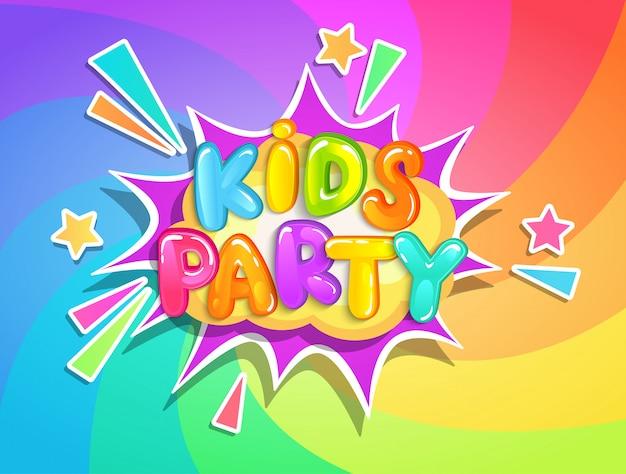Banner festa per bambini su sfondo arcobaleno.