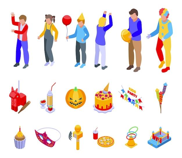 Le icone del partito dei bambini hanno impostato il vettore isometrico. festa dei bambini