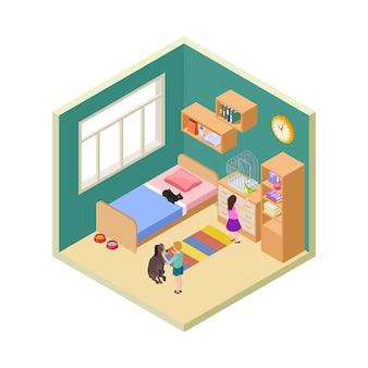 Bambini e animali domestici. ragazza, ragazzo con gatto, cane e uccello. illustrazione isometrica di vettore dell'interiore della stanza dei bambini. bambini con animali, bambino carino cartone animato con animali domestici