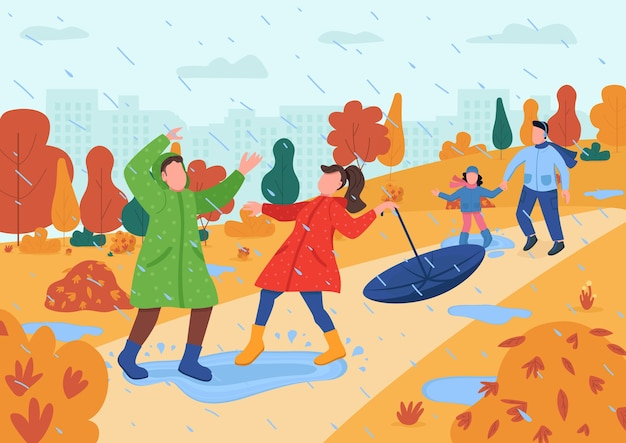 I bambini giocano nella pioggia semi piatta illustrazione. genitore con bambini in autunno parco urbano