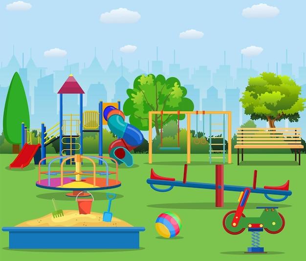 Cartone animato parco giochi per bambini