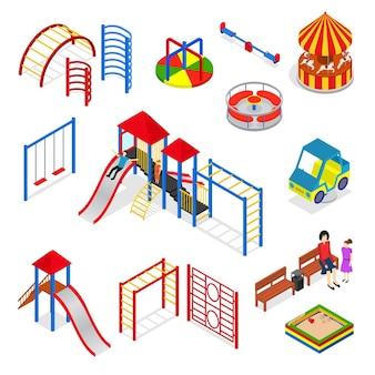 Insieme di elementi del parco giochi per bambini vista isometrica isolata.
