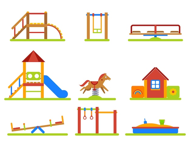Set di icone piane di parco giochi per bambini. scivolo e altalena, attrezzatura per sandbox dell'asilo e giostra.