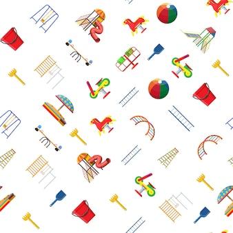 Reticolo senza giunte di scuola materna parco giochi per bambini. divertimento urbano per bambini. scala scorrevole, giocattolo a dondolo, tubo scorrevole, altalena, giostra, bilanciatore, sabbiera, paletta con rastrello a secchio. stile piatto di illustrazione vettoriale