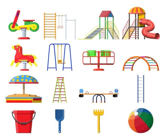 Set di asilo per bambini parco giochi. divertimento urbano per bambini.