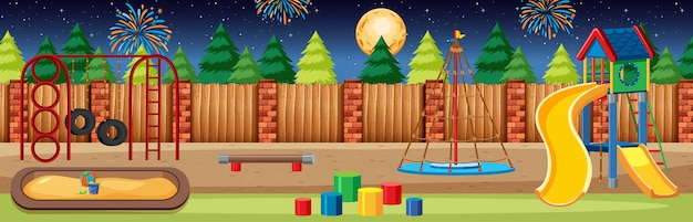 Parco giochi per bambini nel parco con grande luna e fuochi d'artificio nel cielo di notte scena panorama in stile cartone animato