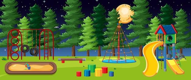 Parco giochi per bambini nel parco con la grande luna nel cielo di notte in stile cartone animato