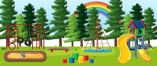 Parco giochi per bambini nel parco con arcobaleno nel cielo in stile cartone animato diurno