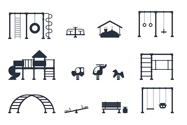 Parco giochi per bambini. set di icone nere di elementi di equipaggiamento da gioco. concetto di parco cittadino. illustrazione vettoriale