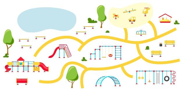 Parco giochi per bambini. set di elementi di equipaggiamento da gioco. concetto di parco cittadino. illustrazione vettoriale