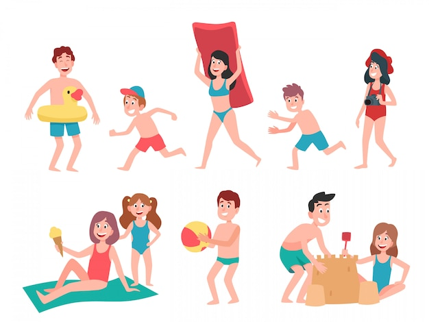 Bambini che giocano in spiaggia. insieme dell'illustrazione del fumetto del bambino dei bambini di vacanza di vacanza estiva, di nuoto e prendente il sole