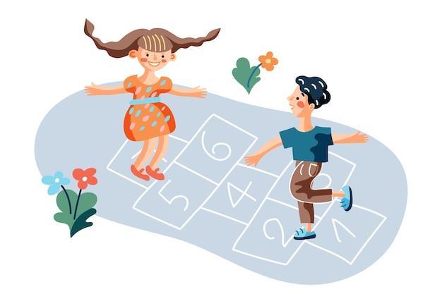 Bambini che giocano a campana gioco illustrazione, ragazzino e ragazza al cortile dell'asilo, amici preadolescenti all'aperto personaggi dei cartoni animati, hop scotch court disegnato con elemento di gesso