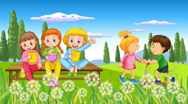 Bambini che giocano nella natura all'aperto