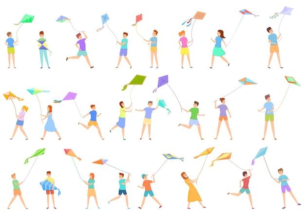 Bambini che giocano con set di icone di aquiloni. insieme del fumetto di bambini che giocano con le icone di aquiloni