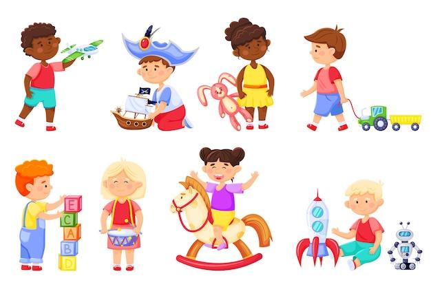 Bambini che giocano con i giocattoli i bambini dei cartoni animati giocano con il coniglietto del razzo ragazza dell'asilo sul cavallo a dondolo